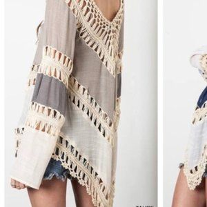 Crochet Top Multi beige w/ great detail